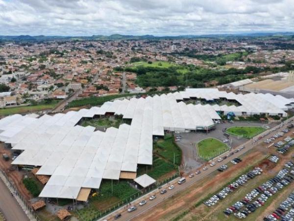 Visão aérea do recinto onde está ocorrendo a FEMAGRI 2020. Foto: Divulgação
