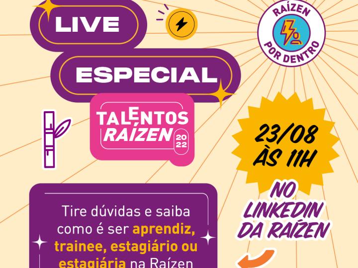 Raízen realiza live para tirar dúvidas  sobre Programa Talentos 2022